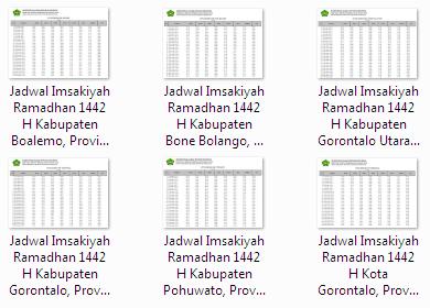 Kumpulan Jadwal Imsakiyah Ramadhan 1442 H Seluruh Kabupaten/Kota Gorontalo di Provinsi Gorontalo