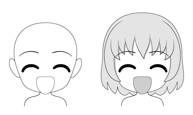 Senang ekspresi wajah anime chibi