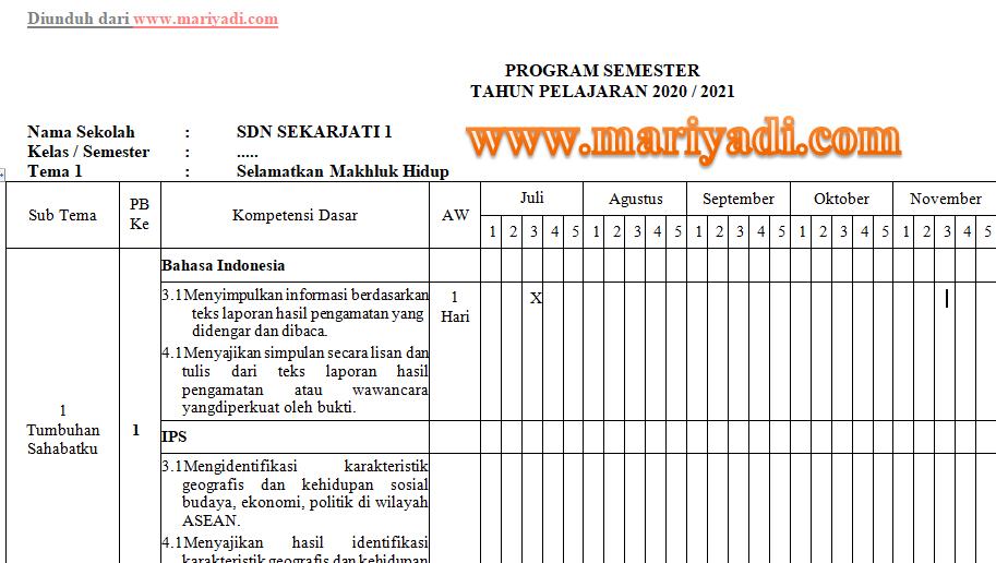 Program Semester Promes Kelas 1 2 3 4 5 6 Sd Mi Kurikulum 2013 Tahun Pelajaran 2020 2021 Mariyadi Com