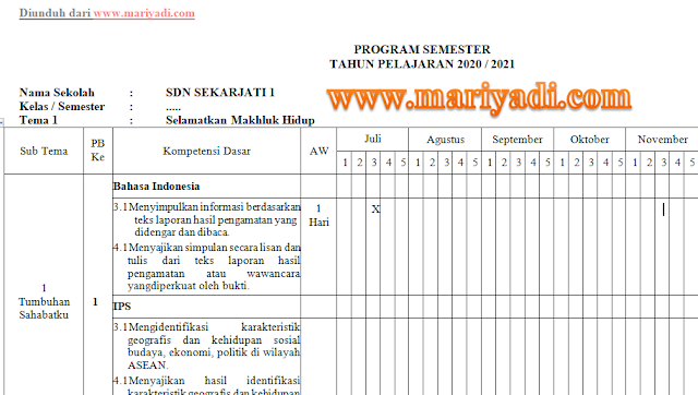 Program Semester (PROMES) Kelas 1 2 3 4 5 6 SD/MI Kurikulum 2013 Tahun Pelajaran 2020/2021