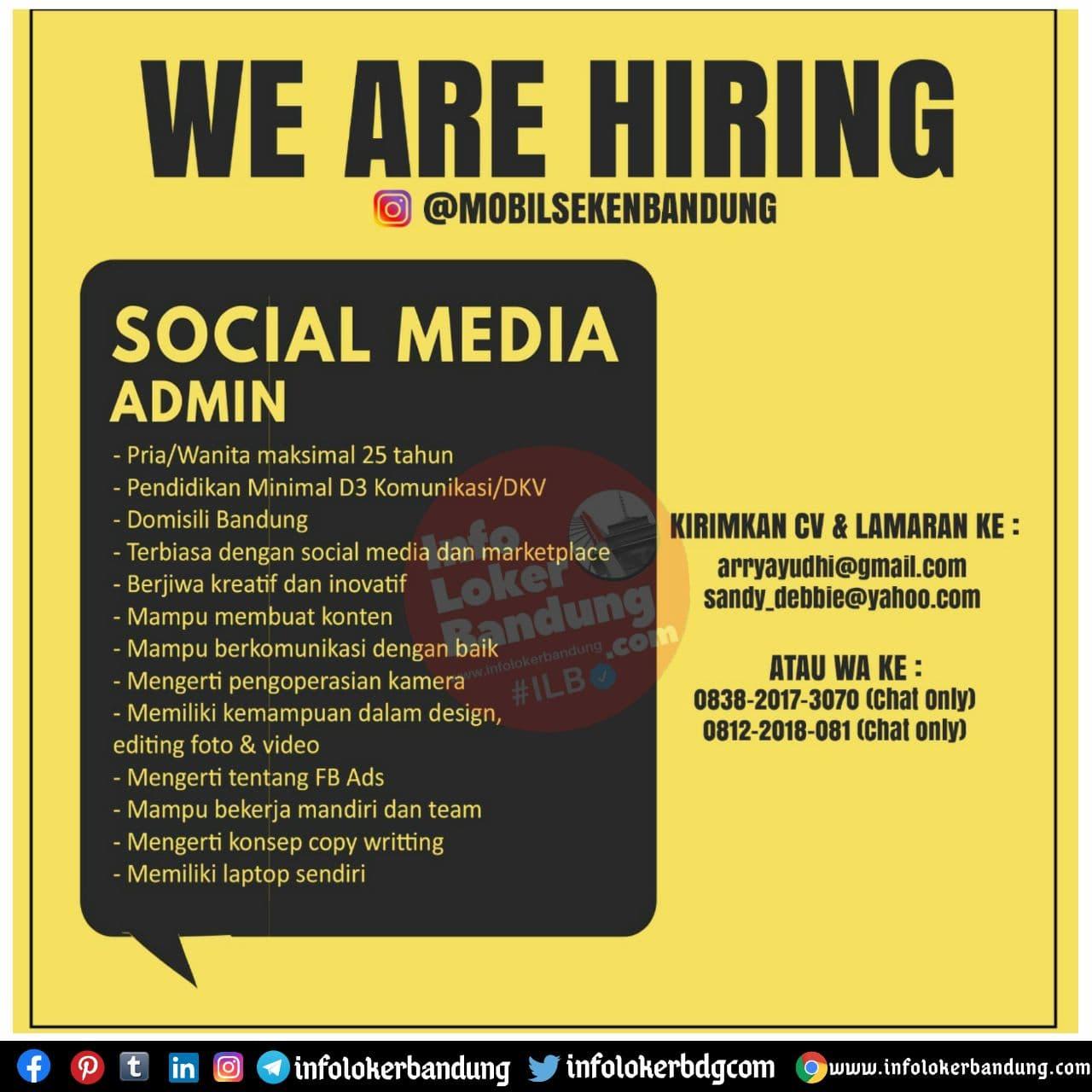 Lowongan Kerja Social Media Admin Mobil Seken Bandung November 2020