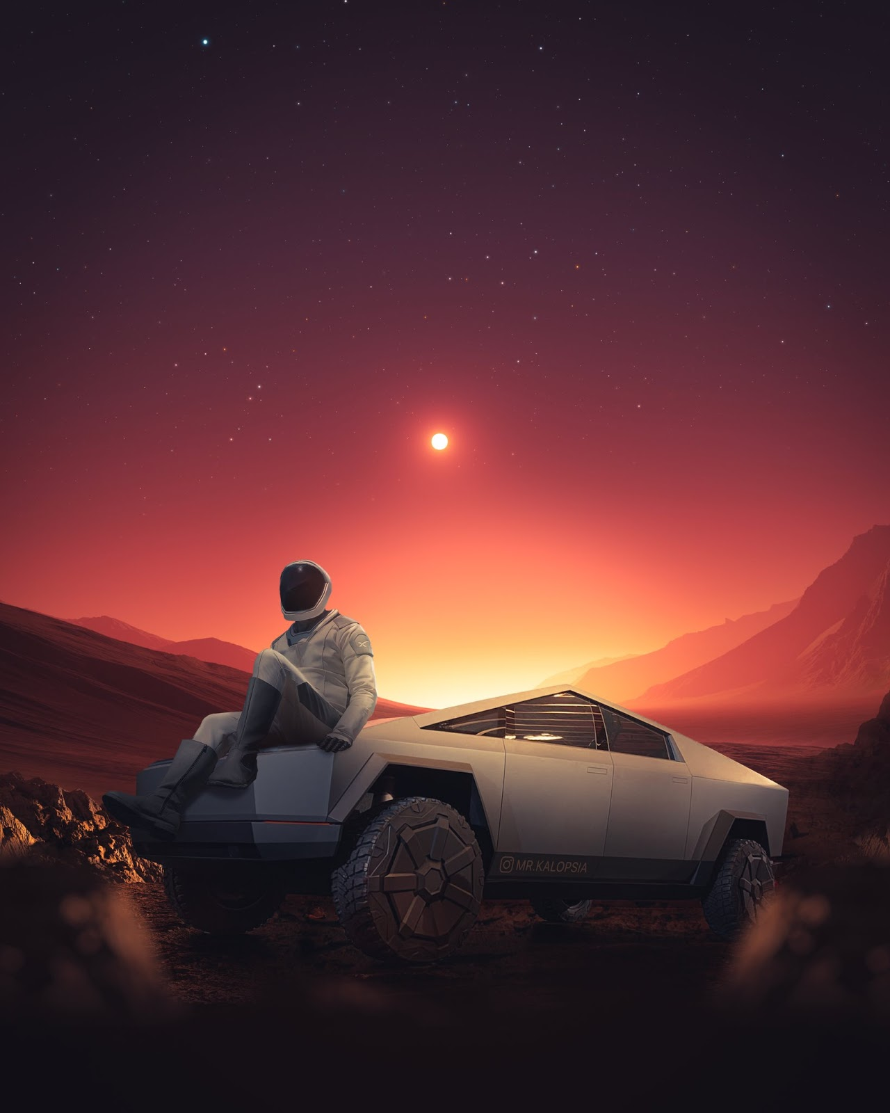 SpaceX Starman resting at his Tesla Cybertruck on Mars by Eashan Misra