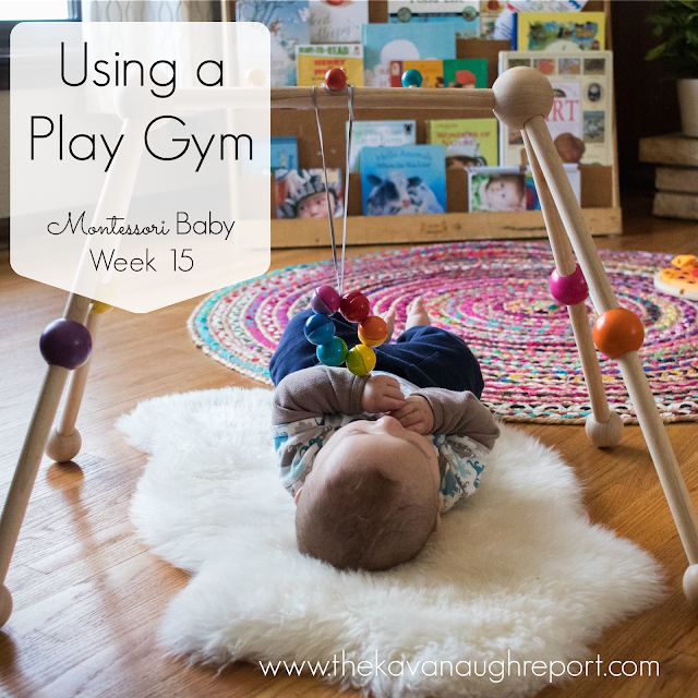 Using a baby play gym as an alternative to a movement area can be a perfect option for many Montessori babies. This allows families to stay together while still keeping the baby engaged in a Montessori mobile.