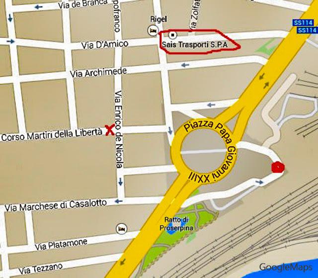 Mapa das paradas de ônibus do Centro de Catânia, Sicília