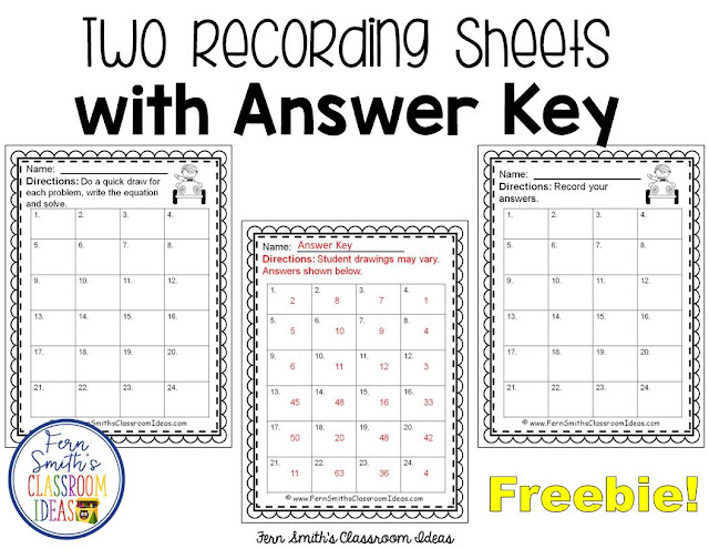 Mixed Division Task Cards and Recording Sheets Freebie from Fern Smith's Classroom Ideas at ClassroomFreeebies.