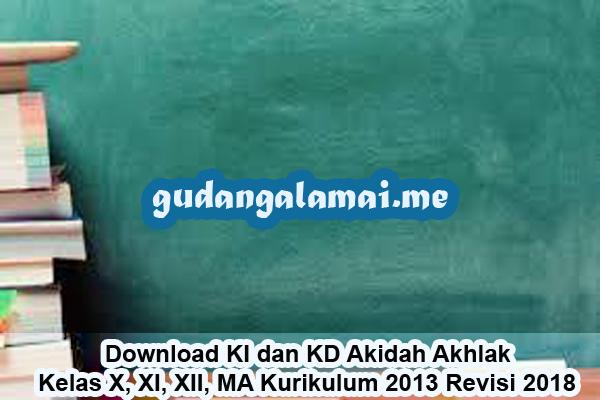 Download KI dan KD Akidah Akhlak Kelas X, XI, XII, MA Kurikulum 2013 Revisi 2018