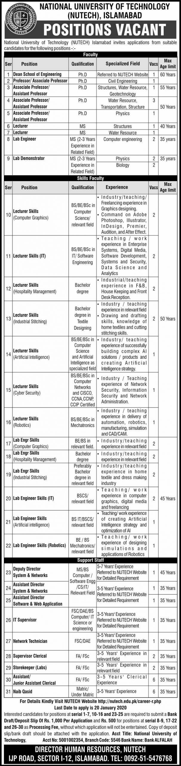 NUTECH Jobs 2020, National University of Technology Islamabad