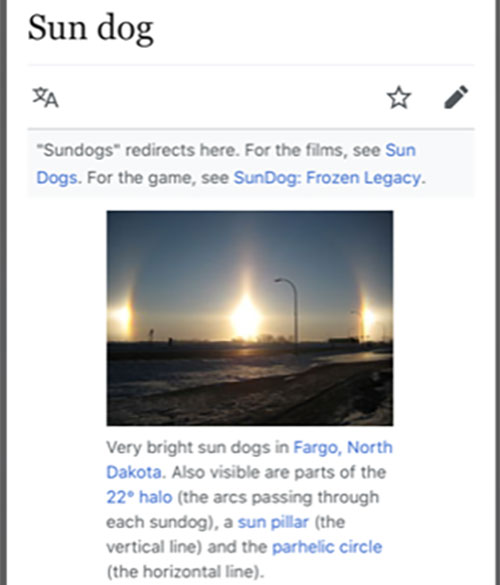 Example showing how refraction causes sun dogs (Source: Wikipedia)