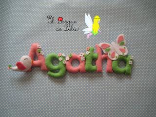 nombre-fieltro-felt-feltro-Agatha-name-banner-elbosquedelulu-hechoamanoparati-decoración-infantil-regalo-personalizado
