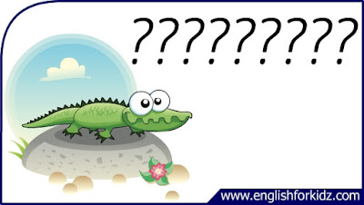 alligator flashcard, cartoon alligator image, esl flashcard