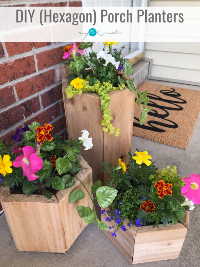 How to make your own DIY Porch Planters using a hexagon shape and multiple sizes.  Tutorial at MyLove2Create.com