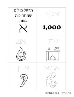תרגול כתיבת מילים בעברית