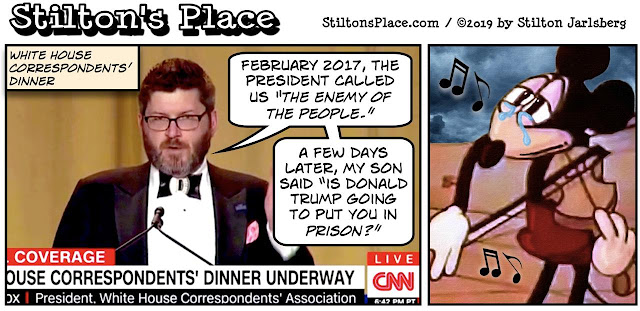 stilton's place, stilton, political, humor, conservative, cartoons, jokes, hope n' change, white house correspondents, dinner, mickey mouse, enemy of the people, synagogue, shooter, NYT, fake news, obama, trump