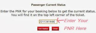 Indian Rail Official PNR Status Enquiry Form Online