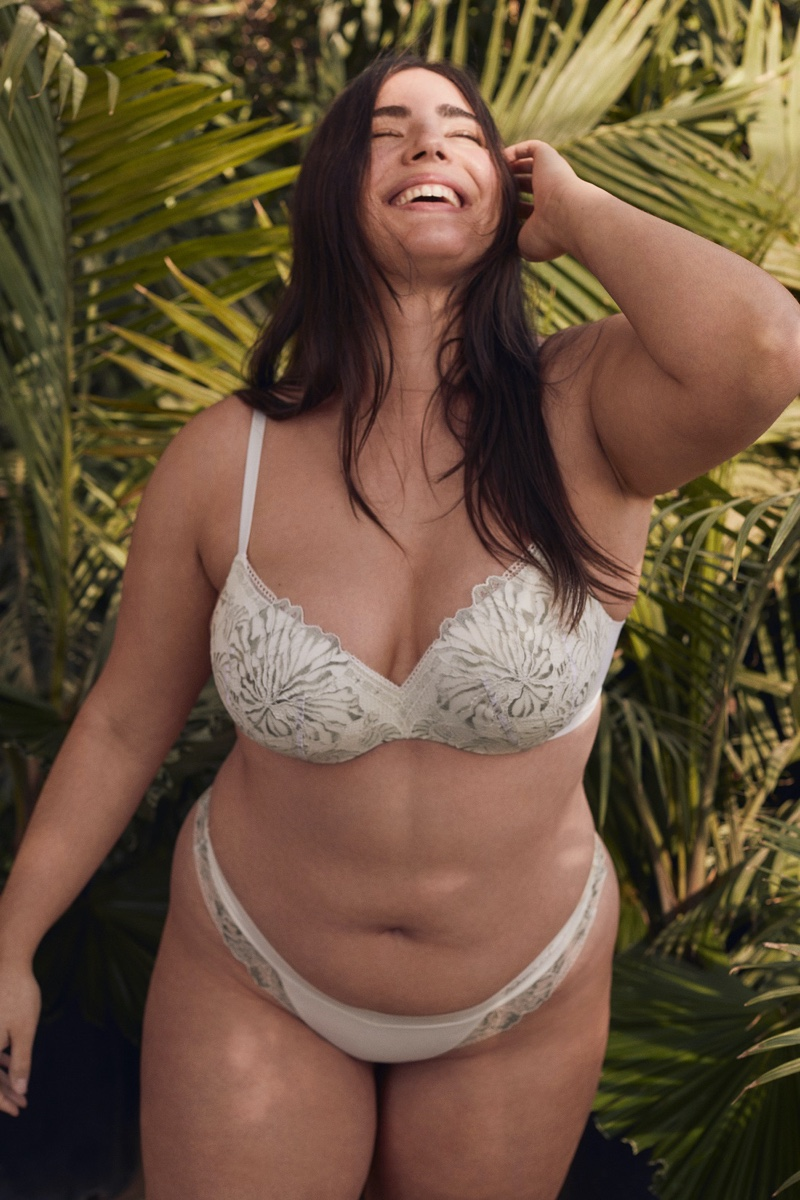 Incredible by Victoria's Secret Lightly Lined Demi Bra in Palm Lace & Lace Bikini Panty.