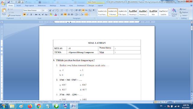 Soal Matematika Kelas 6 Operasi Hitung Campuran dan Kunci Jawaban K13