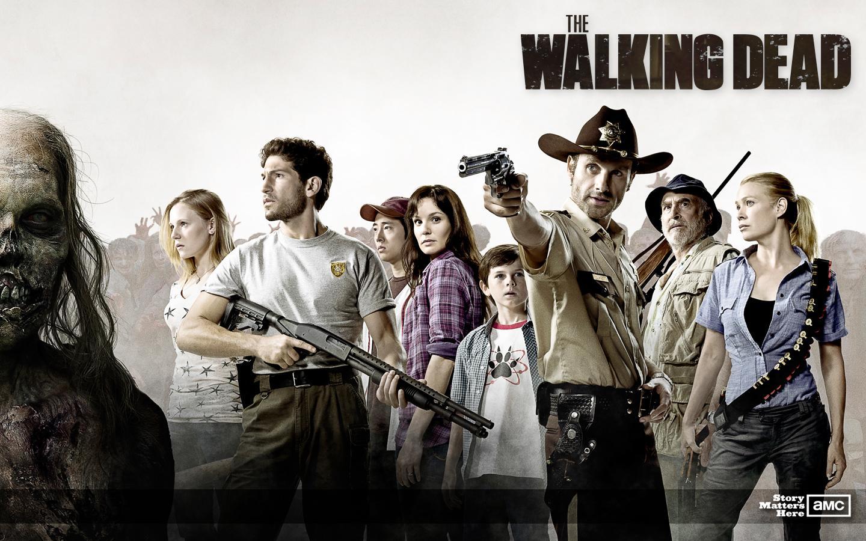 Reprodução do elenco da série The Walking Dead, em sua primeira temporada.
