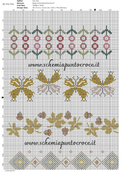 motivi per punto croce -cross stitch pattern free bordi gialli_page-