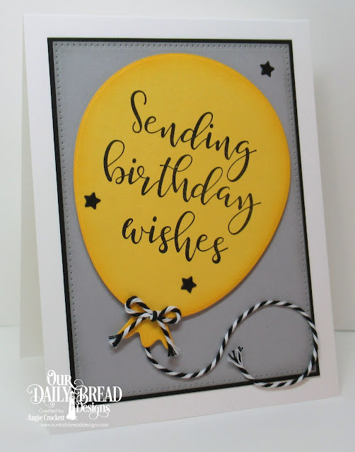 ODBD Big Birthday Bolds, ODBD Custom Big Balloon Die, ODBD Custom Sparkling Stars Dies, ODBD Custom Pierced Rectangles Dies, Card Designer Angie Crockett
