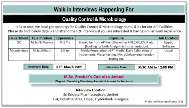 Sri Krishna Pharma | Walk-in interview for Freshers and Expd on 29th Mar to 3rd April 2021