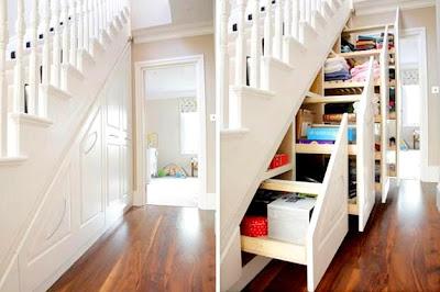Rekaan Moden, Unik, Kreatif dan Menarik Perabot di Ruang Tamu, Bilik Dan Pejabat - kabinet bawah tangga