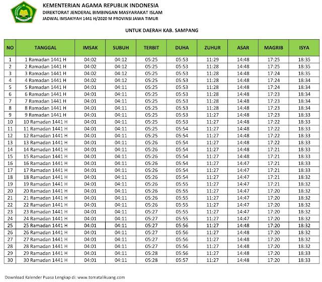 jadwal imsak waktu buka puasa Kabupaten Sampang 2020 m ramadhan 1441 h tomatalikuang.com