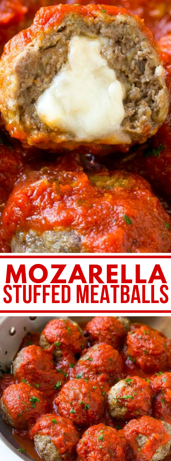 MOZZARELLA STUFFED MEATBALLS #partyappetizer #heartymeal