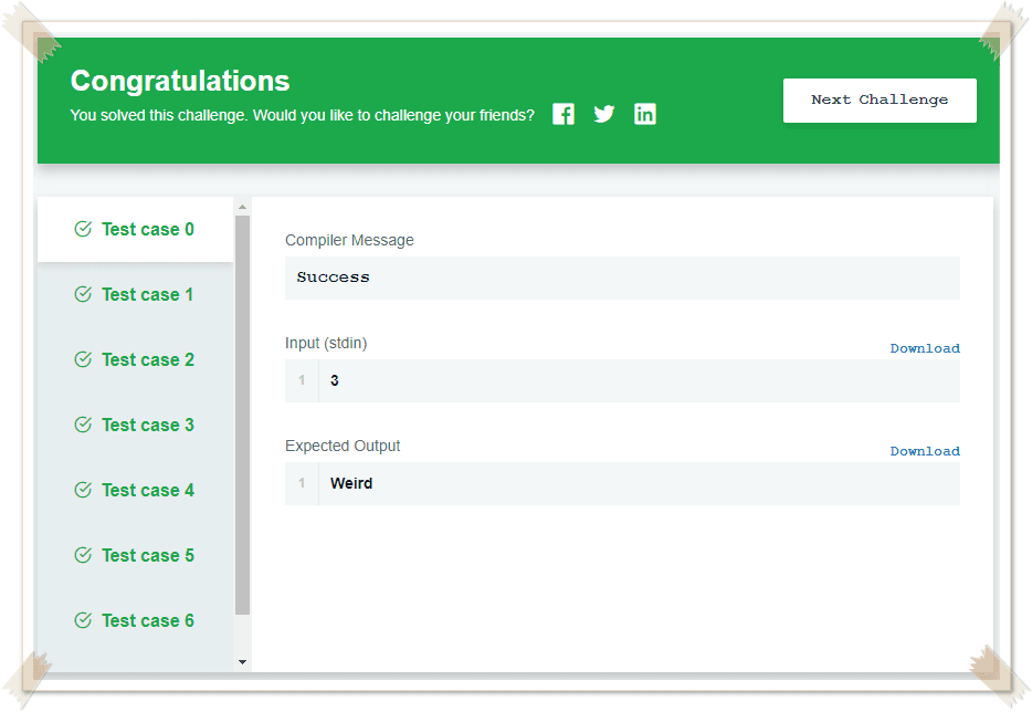 Day 3 Hackerrank Solution in C Output