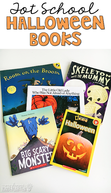 5 great books to read aloud for a Halloween theme. Perfect for tot school, preschool, or even kindergarten.