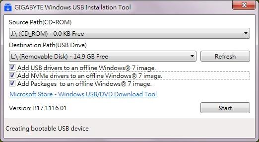 [教學] 使用免費軟體 Gigabyte Windows USB Installation Tool 簡單製作 windows 7 安裝隨身碟 (Intel 100/200/X299/Z370 適用 ...
