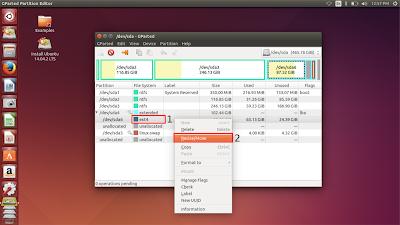 Klik kanan pada partisi linux kalian, kemudian klik resize/move