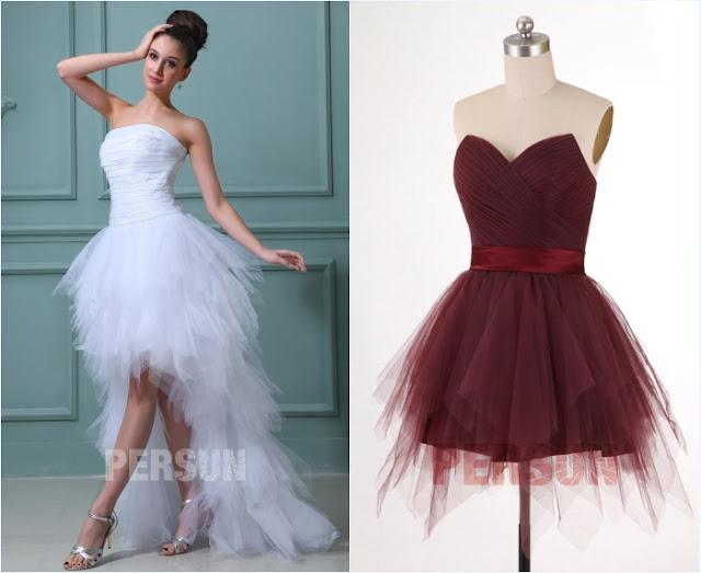 robe de mariée et robe demoiselle d'honneur évasée