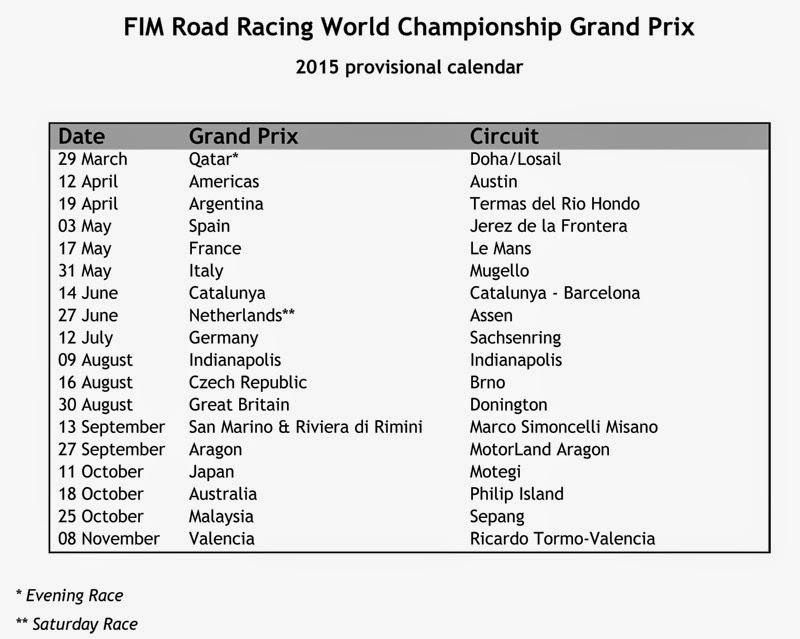 Schedule Race Motogp 2015 Motogp 2016