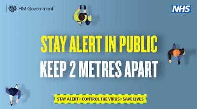 Social distancing 2 metres apart Stay alert