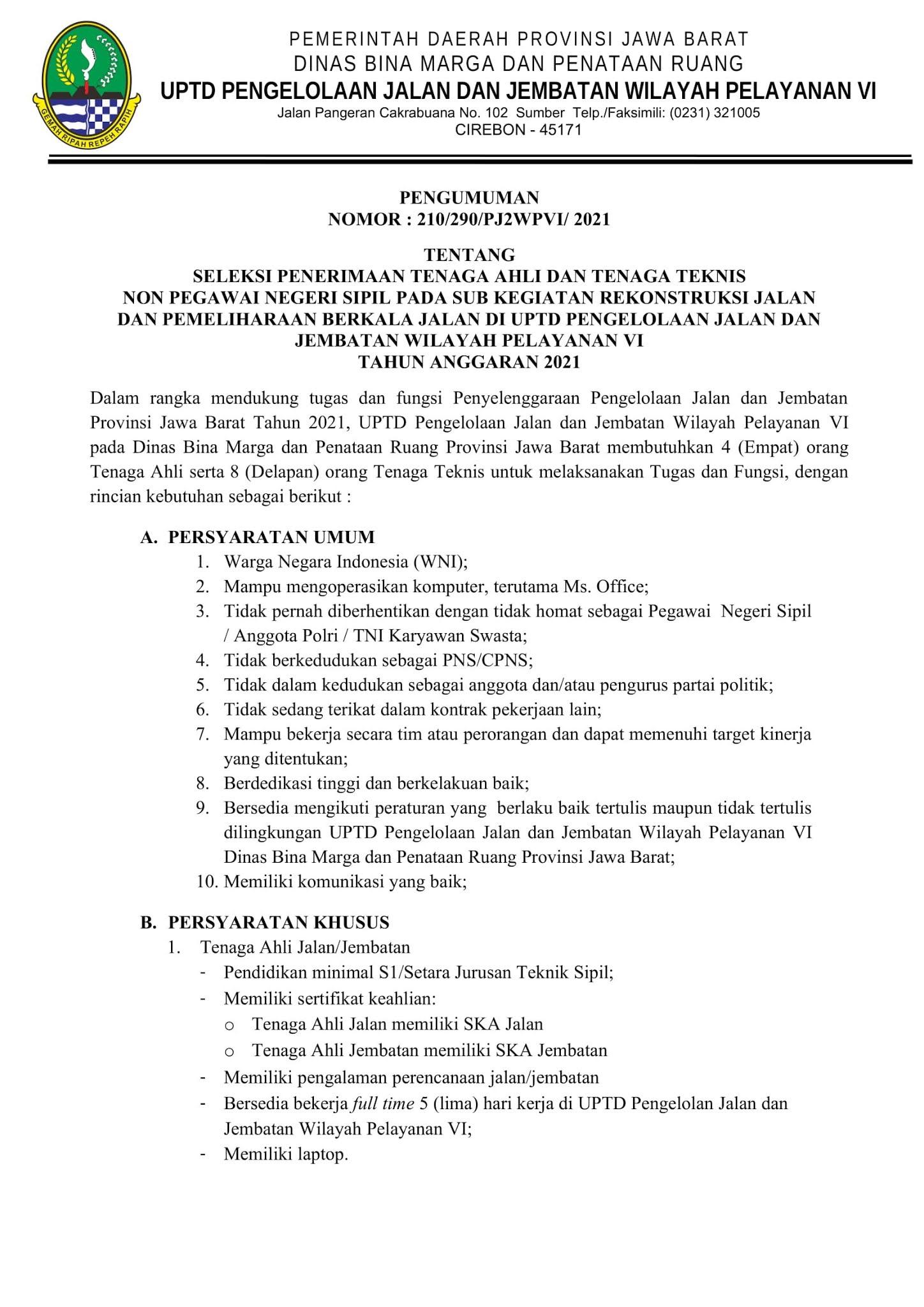 Lowongan Kerja Non PNS Dinas Bina Marga dan Penataan Ruang Mei 2021