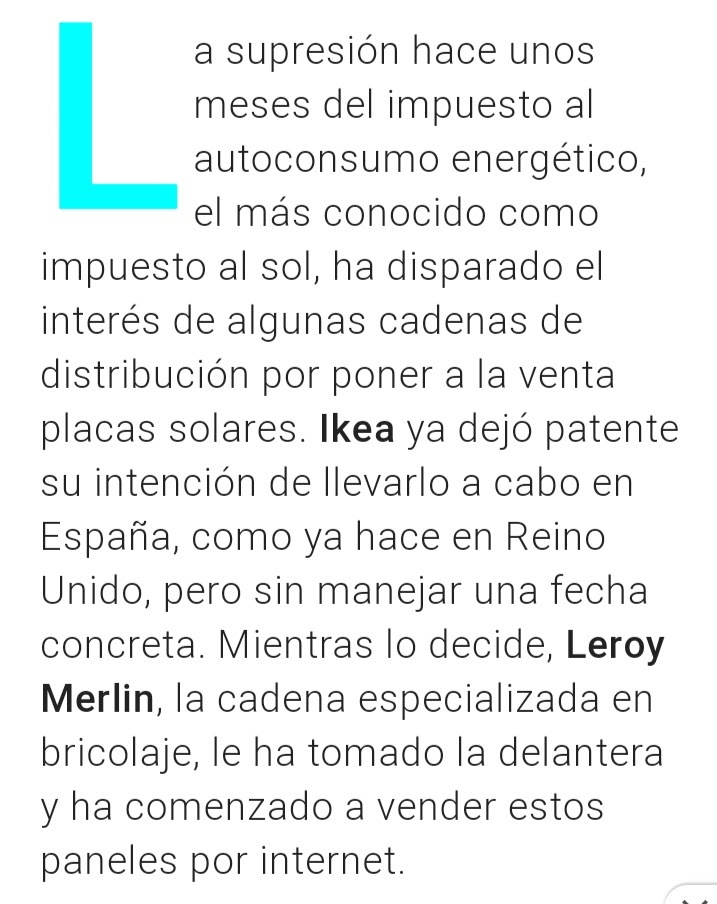 Leroy Merlin se adelanta a Ikea y ya vende paneles solares