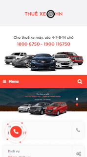 Giao diện blog dịch vụ cho thuê xe
