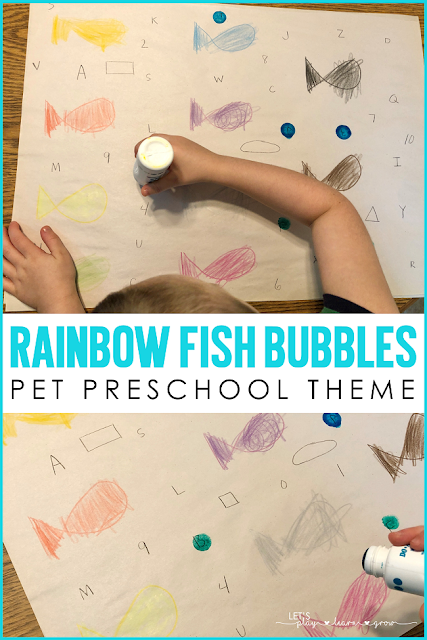 Rainbow Fish Bubbles Literacy and Math Activity