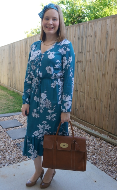 Kmart teal floral print midi dress with scarf in hair, heels and Mulberry bayswater tote bag | awayfromblue