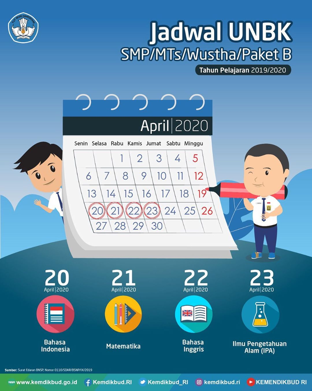 Jadwal UNBK SMP MTs Wustha Paket B Tahun Pelajaran 2019/2020