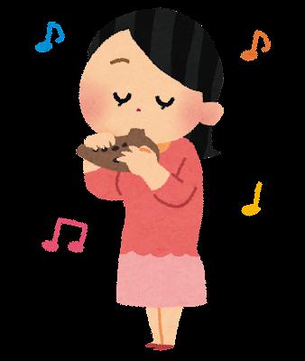オカリナを吹いている女の子のイラスト