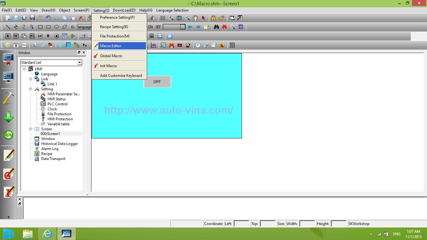 Cách truy cập thiết lập Macro trong phần mềm SKWorkshop lập trình cho màn hình cảm ứng HMI Samkoon