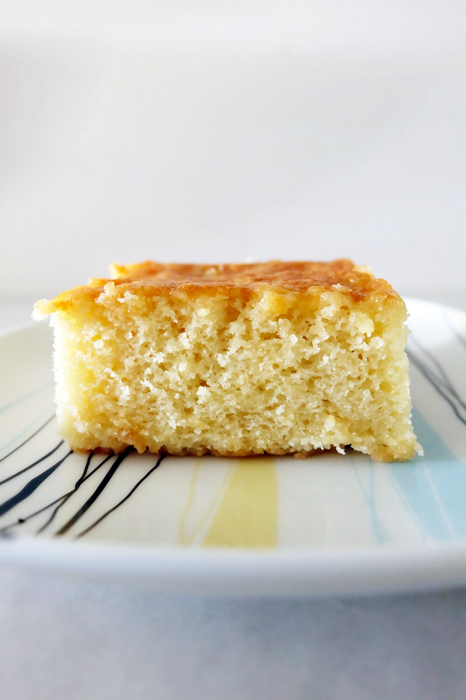 view of sliced hot milk cake on plate