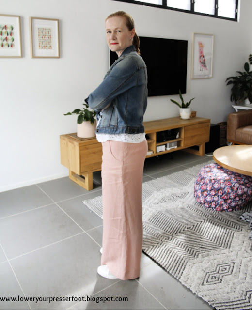 pink linen wide leg pants Burda 10/2016 #113 www.loweryourpresserfoot.blogspot.com