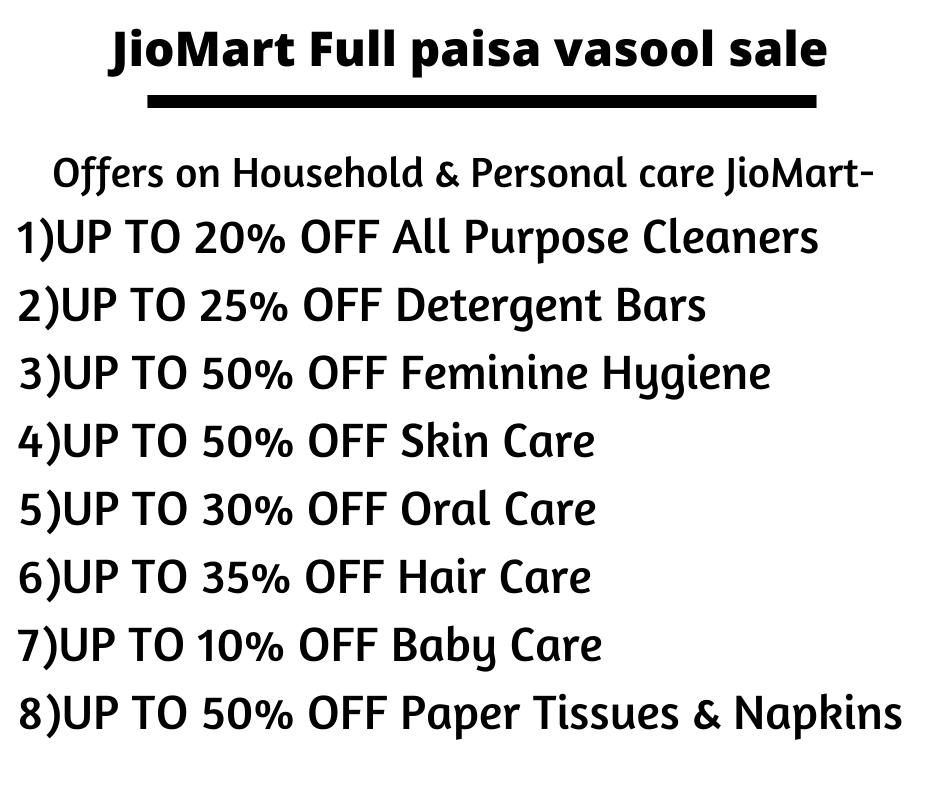 Offers on Household & Personal care JioMart