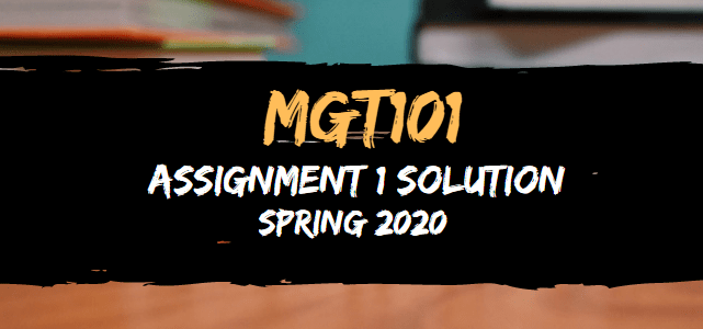 MGT101 Assignment 1 Solution Spring2020