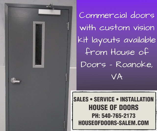 Commercial doors with custom vision kit layouts available from House of Doors - Roanoke, VA