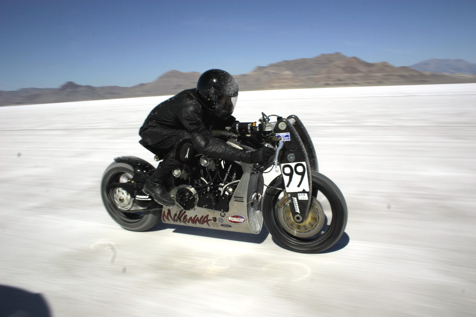 Chris Roberts riding the Wraith XP-1 at Bonneville
