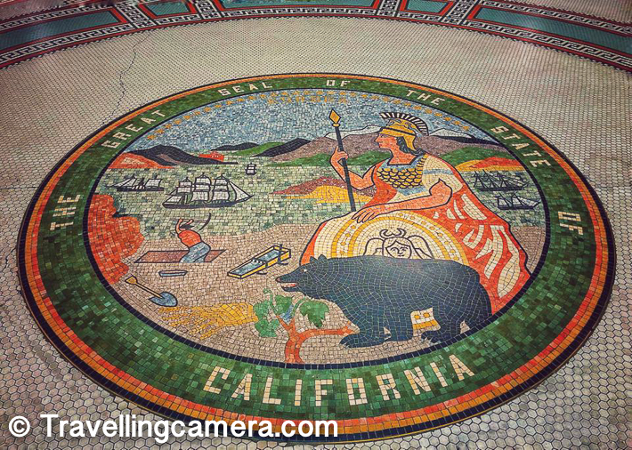 Above photograph shows tile art-work which indicates The Great Seal of the State of California. California is one of the best states in USA and self-sufficient.