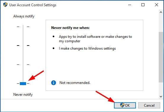 Tắt UAC (User Account Control) Windows 10.